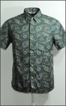 CALEE - S/S PAISLEY PATTERN SHIRT -Olive-