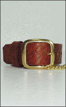 SEVENTY FOUR - BUSKET CURVING LEATHER WRIST BELT NARROW -Brown-