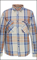 BRIXTON - ARCHIE FLANNEL -Taupe/Navy-
