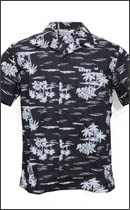 CALEE - S/S COTTON BROAD ALOHA SHIRT -Black-