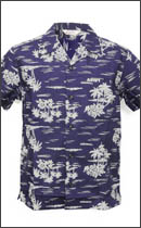 CALEE - S/S COTTON BROAD ALOHA SHIRT -Navy-
