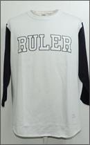 RULER - COLLEGE SET-IN 3/4 SLEEVE TEE -White/Navy-
