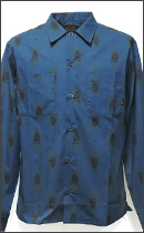 CALEE - L/S ALLOVER ANEMBIEM BRORD SHIRT -Navy -