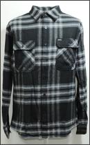 BRIXTON - BOWERY L/S FLANNEL -Grey/Black-