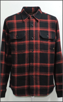 CALEE - L/S DOBBY CHECK SHIRT -Black/Red-