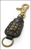 CALEE - SQUARE LEATHER KEY RING -Black-