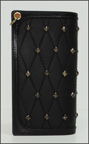 CALEE - LEATHER STUDS LONG WALLET -Black-