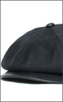 CALEE - MILITARYCODE LEATHER COMBINATION CASQUETTE -Black-