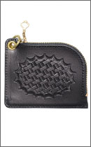 CALEE - EMBOSSING ZIP COIN CASE -Black-