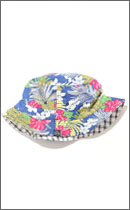 INTERFACE - REVERSIBLE BUCKET HAT -White Check / Blue Aloha-