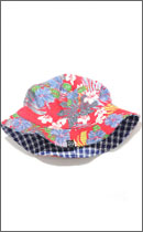 INTERFACE - REVERSIBLE BUCKET HAT -Blue Check / Red Aloha-