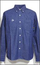 CALEE - L/S DENIM BUTTON DOWN SHIRT -Blue-