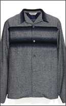 CALEE - RETRO WOOL CHAMBRAY SHIRT -Navy-