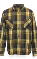 SEVENTY FOUR - HEAVY FLANNEL SHIRT L/S - Brown x Yellow -