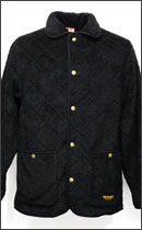 CALEE - QUILT BOAFLEECE COVERALL JACKET -Black-