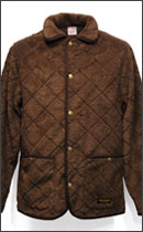 CALEE - QUILT BOAFLEECE COVERALL JACKET -Brown-