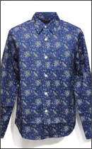 CALEE - L/S OXFORD ALLOVER PAISLEY PATTERN SHIRT -Blue-