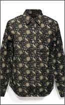 CALEE - L/S OXFORD ALLOVER PAISLEY PATTERN SHIRT -Black-