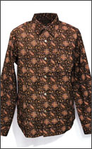 CALEE - L/S OXFORD ALLOVER PAISLEY PATTERN SHIRT -Brown-
