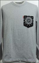 tokyo gimmicks - L/S BANDANA POCKET TEE -H.Grey/Wash Black-