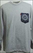 tokyo gimmicks - L/S BANDANA POCKET TEE -H.Grey/Wash Navy-