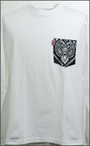 tokyo gimmicks - L/S BANDANA POCKET TEE -White/Wash Black-