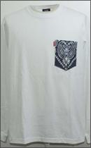 tokyo gimmicks - L/S BANDANA POCKET TEE -White/Wash Navy-