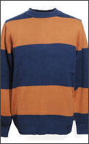BRIXTON - GULLY SWEATER -Rust/Navy-