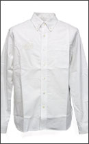 CALEE - L/S OXFORD BUTTON DOWN SHIRT -White-