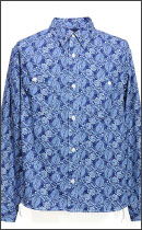 CALEE - TWILL ALLOVER PATTERN WORK SHIRT -Blue-