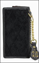 CALEE - LEATHER DIAMOND BACK LONG WALLET -Black/Black-