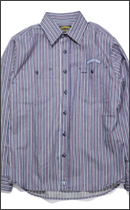 SEVENTY FOUR - STRIPED CHAMBRAY SHIRT L/S - Navy x Red -