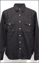 CALEE - L/S USED WASH CHINO CLOTH WESTERN SHIRT -Charcoal-
